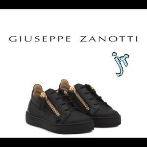 giuseppe zanotti jr NEW black calfskin lowtops